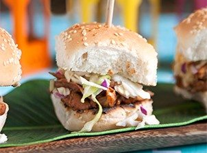 grace jerk chicken sliders with a pineapple slaw