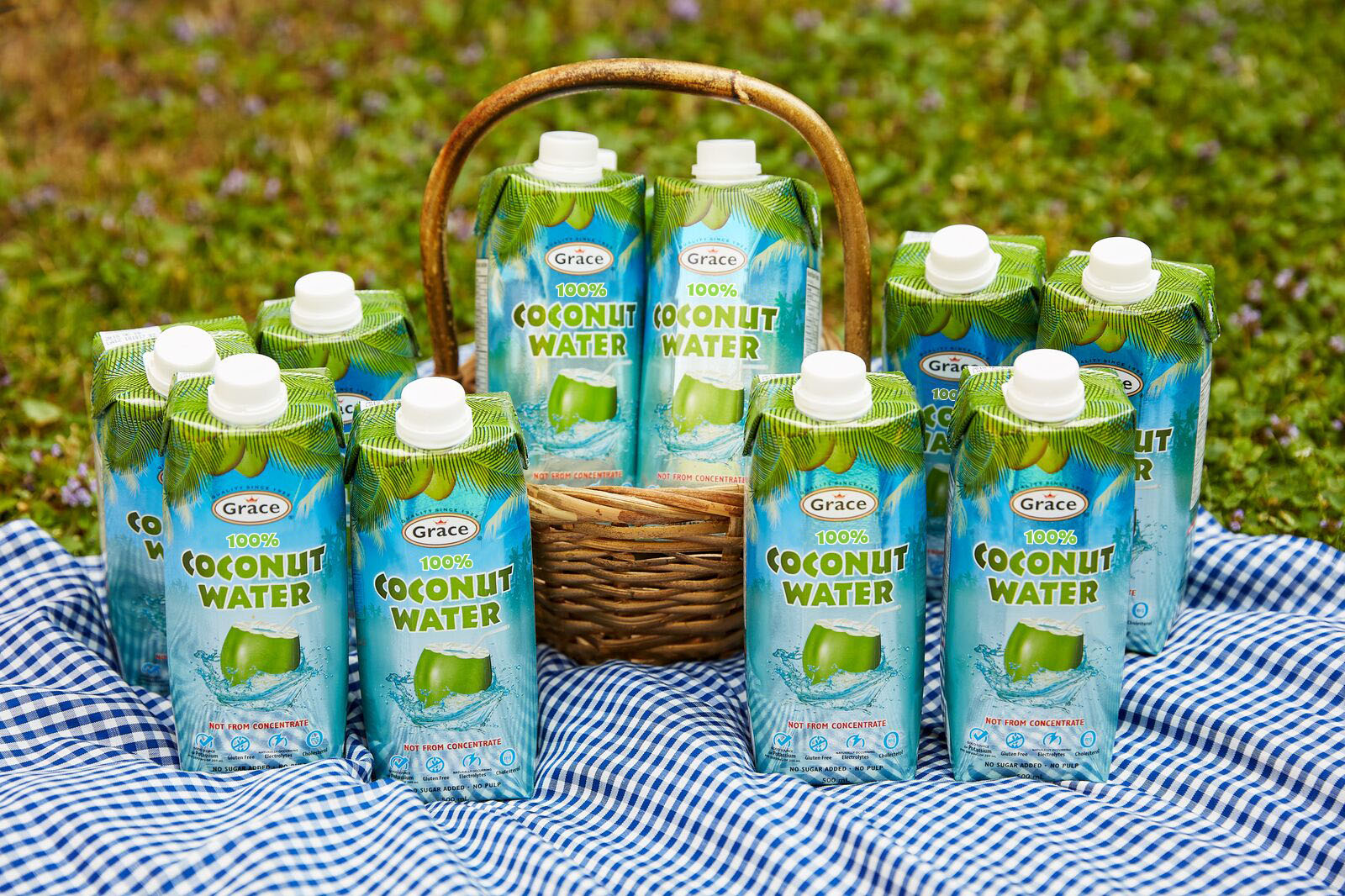 a basket of coconut water tetra packs