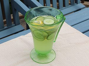 coconut water with lemon and cucumber