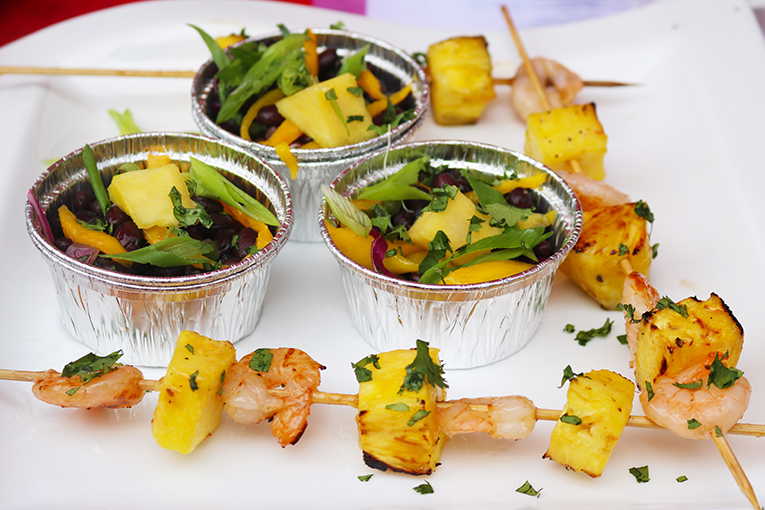Pineapple Coconut Grilled Shrimp with Black Bean Salad