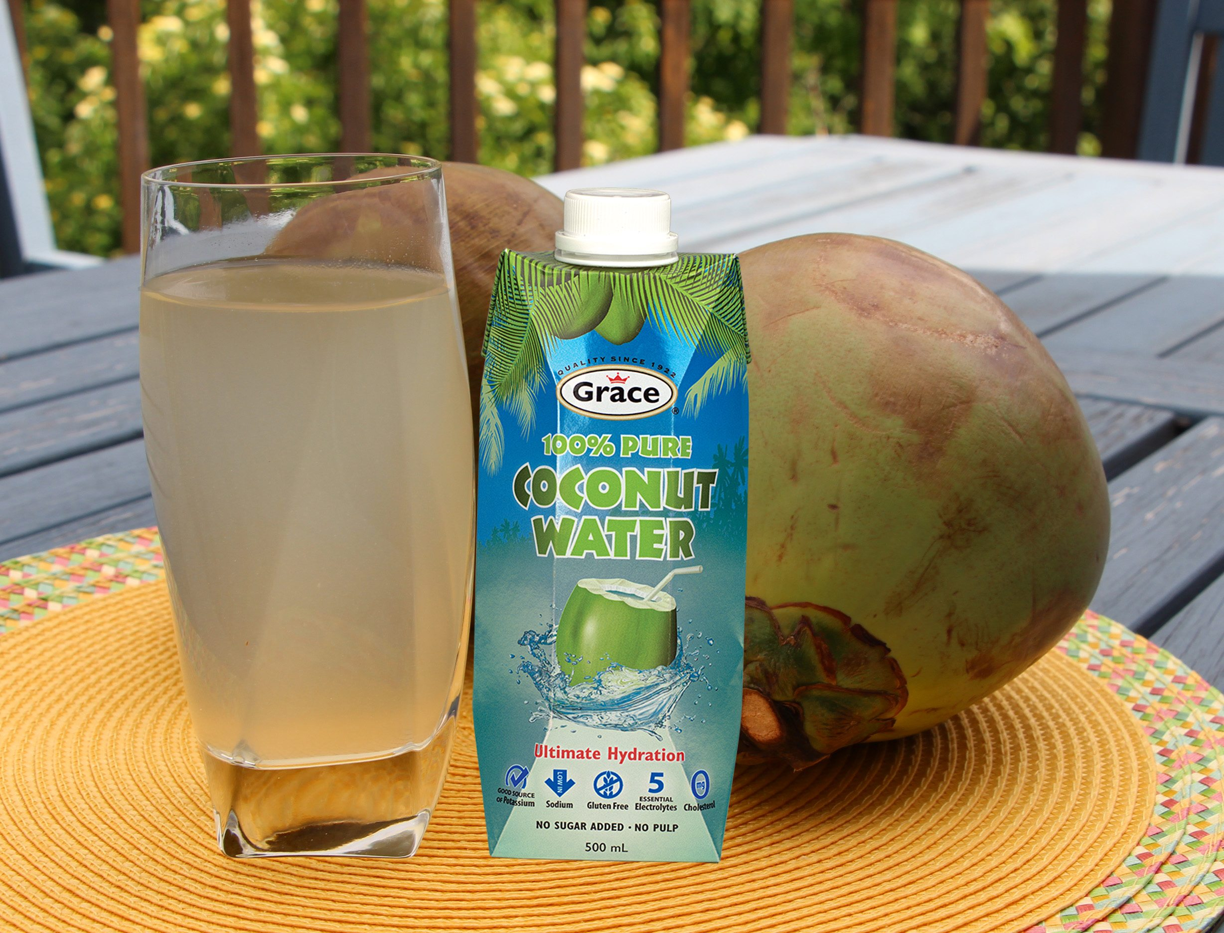 grace coconut water with glass