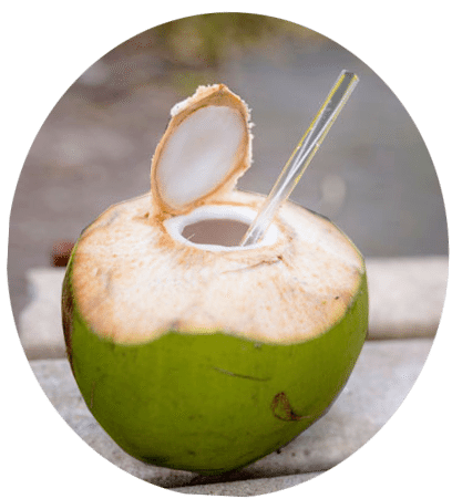 green coconut with straw