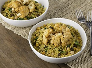 Currie Quinoa with Kale and Cauliflower