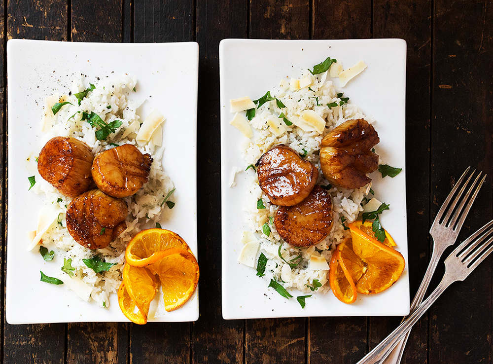 Scallops with Coconut Rice