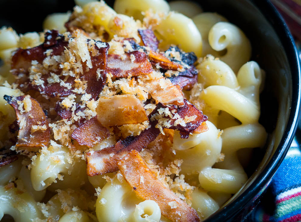 Spicy Mac Cheese Coconut Bacon