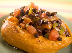Sweet Potato with Black Bean Chili